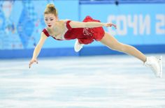 Feb 19, 2014; Sochi, RUSSIA; Gracie Gold of the USA performs in the ladies short program during the Sochi 2014 Olympic Winter Games at Icebe...
