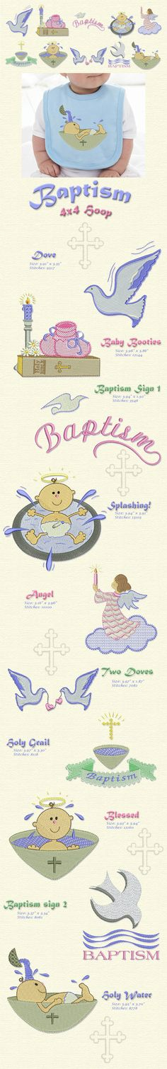 What better way to celebrate or remember a blessed and important event in a child's life than creating beautiful things for him or her using this collection. All the designs in this collection fit a 4x4 hoop.  Thread and bobbins Available here!