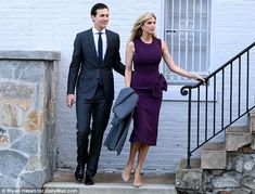 Model citizens: Jared wore a fitted charcoal suit and blue skinny tie while Ivanka wowed in a $1450 Roksanda Ilinčić dress