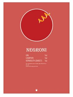 Negroni Cocktail Recipe Poster (Imperial) by Jazzy Phae