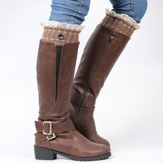 One Button Lace Trimmed Boot Cuff