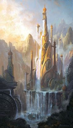 So I can't choose ONE favorite fantasy artwork but I've narrowed it down to This one's a castle obviously. It kind of reminds me of Asgard where Thor & Loki are from. Fantasy Artwork, Fantasy Art Landscapes, Fantasy Concept Art, Fantasy Landscape, Landscape Art, Landscape Wallpaper, Fantasy Drawings, Desert Landscape, Landscape Design