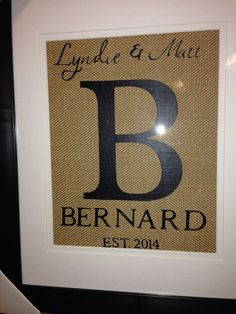 Custom monogram on burlap in custom painted frame wall decor on Etsy, $44.25