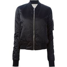 Rick Owens feather down bomber jacket ($1,740) ❤ liked on Polyvore featuring outerwear, jackets, black, black feather jacket, black jacket, rick owens, blouson jacket and black long sleeve jacket