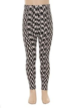 L4U Girls Hypnotic Montone Lines Brushed Printed Fashion Leggings. Available in two sizes: S/M, and L/XL.