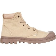 Palladium Pampa Hi Cuff Women's (¥6,610) ❤ liked on Polyvore featuring shoes, boots, stonewashed dark khaki, cuffed boots, front lace up boots, cap toe boots, laced up boots and cap toe shoes