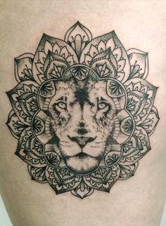 Resultado de imagen para mandala lion thigh and hip tattoos