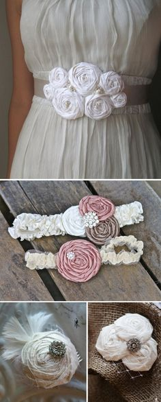 DIY Fabric Rosette Accessories- great for weddings, clothing, accessories and home decor.  @Angela Gray Gray Gray Ashton    You should do an Etsy shop with just your flowers and do BRIDAL accessories!   creative-ideas