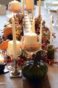 Fall table decor... Love the popcorn kernels