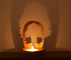 Handcrafted Yew wood tree candle (ref 214)