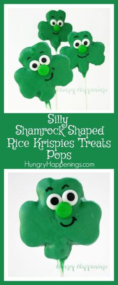 If you want to make a cute treat with your kids this St. Patrick's Day try out these Silly Shamrock Shaped Rice Krispies Treat Pops! Your kids can even make their own silly faces on these treats! Rice Crispy Treats, Krispie Treats, Rice Krispies, Edible Crafts, Food Crafts, St Patricks Day Drinks, St Patrick Day Treats, Food Art, Fun Food