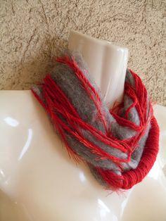 BIG SALE    SCARF MINI LOOP GREY RED   Ready to by ethnicdesign, $19.00  #etsy #scarf #fashion #handmade