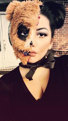Bear Halloween, Cute Halloween Makeup, Halloween 2019, Halloween Costumes, Zombie Silhouette, Bear Makeup, Teddy Bear Costume, Bear Mask, Monster Costumes