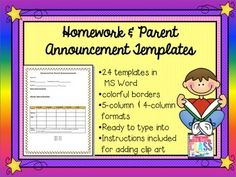 Homework Templates: Monthly Themed Editable in Word