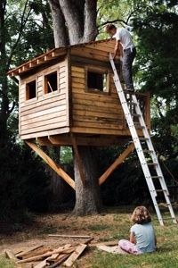 I always wanted a tree house growing up   (alas, all the trees in my yard were puny). I'd love to be able to give my kids   a basic tree house they can help build and decorate. Honestly though, I'm a   little surprised how many images I had to sort through on my search engine   before coming across this one. Tree houses are so complicated now; whatever   happened to a simple box with windows? Hint for the parents: I really don't   think your kid will care that you spend five-hundred+ on his…