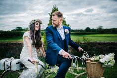 Bride and groom on a tandem. Photography by Kerry Woods.