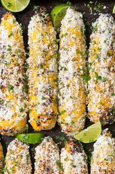 Grilled Mexican Street Corn (Elotes) Cooking Classy is part of Corn recipes Mexican Street Corn — Fresh corn is grilled for a light char, then topped with a cilantro mayo, salty Cotija cheese, an - Barbecue Sides, Barbecue Side Dishes, Corn Recipes, Mexican Food Recipes, Chicken Recipes, Mexican Cooking, Jelly Recipes, Salmon Recipes, Gastronomia