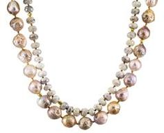 Silverite and Pearl Bead Necklace with Gold
