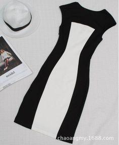 Lindo Vestido Preto E Branco Importado - R$ 109,98 no MercadoLivre