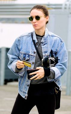 rooney mara denim jacket street style