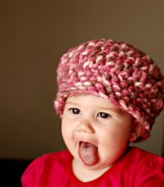 Pardon my Chaos: Strawberry Beret, like the chunky hat, and can easily make it bigger.