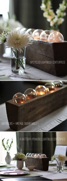 Upcycled lightbulb centerpiece with vintage sugar mold. Via Warm Hot Chocolate. Upcycled Crafts, Diy And Crafts, Do It Yourself Design, Light Bulb Crafts, Sugar Mold, Deco Table, My New Room, Candle Making, Clever Diy