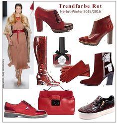 Leuchtendes Rot, Bordeaux oder Violett - die neuen roten Halbschuhe, Stiefel und Ankleboots sowie  Accessoires versprechen schöne Highlights zu werden, die sich hervorragend  Ton-in-Ton oder als Farb-Akzent zu dunklen Unis - kombinieren lassen.