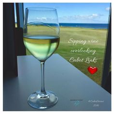 Wine  Golf  Ocean Views = LOVE!  Have you been to @CabotLinks before? You must go! This is a photo I took last year when we were there visiting my husbands family in Nova Scotia. We enjoyed lunch and a sip before we headed off to Cabot Cliffs (Just a quick shuttle from Cabot Links). These courses are two of the most beautiful in Canada. I've heard that Cabot Cliffs is better than Pebble Beach and less expensive to play. Still pricey but worth it. You get an ocean view on almost every hole…