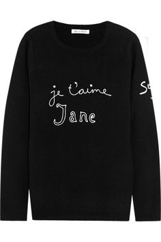 je t'aime jane sweater / bella freud - I think I would love any sweater like this simply because it's a sweater and says je t'aime ♡