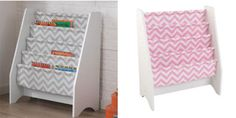 """Chevron Sling Bookshelf - The soft shelves keep the books from getting damaged and can hold books of any size. Books can be displayed by the front or back cover making it easier for kids to choose books on their own. The beautiful white frame and contemporary chevron pattern is sized at 24"""""""" x 12"""""""" x 28"""""""". Check it out!"""