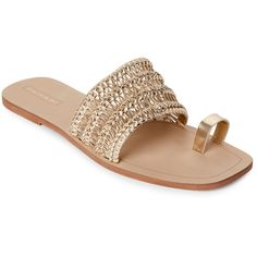 Tahari Gold Frank Toe Ring Flat Sandals ($60) ❤ liked on Polyvore featuring shoes, sandals, metallic, flat sandals, gold sandals, open toe flat shoes, gold metallic sandals and toe loop sandals