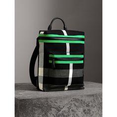 Risultati immagini per Zip-top Leather Trim Canvas Check Backpack