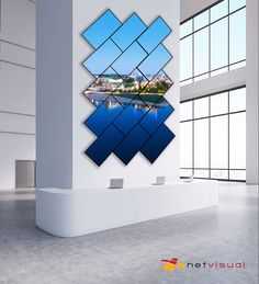 Corporate Video Wall - Digital Signage by Netvisual - Gibby Anselmi Office Wall Design, Small Office Design, Exhibition Booth Design, Exhibition Stands, Exhibit Design, Architecture Design, Digital Signage Solutions, Digital Wall, Digital Media