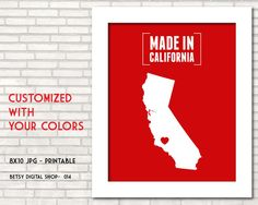 State wall art, printable wall art decor, Home decor, California, Texas, Florida, New York, Illinois, Pennsylvania, - BDS 014
