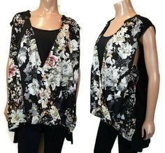 Dex Floral Faux Wrap Top Womens Plus Size 2X Black Layered Look Rayon Sleeveless #Dex #Basic #Casual Black Layers, Layered Look, Tunic Tops, Blouses, Plus Size, Casual, Shirts, Women, Fashion