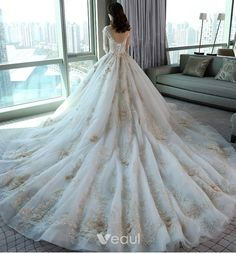Luxury / Gorgeous Church Wedding Dresses 2017 White Ball Gown Royal Train Scoop Neck Long Sleeve Backless Pearl Appliques Flower