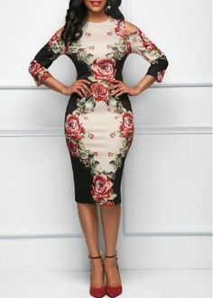 Buy 2018 New Women Round Neck Sleeve Rose Print Dress Middle Waist Off Shoulder Batwing Dress Office Dress Party Dress Plus Size at Wish - Shopping Made Fun Evening Dresses For Weddings, Women's Evening Dresses, Sexy Dresses, Plus Size Dresses, Fashion Dresses, Wearing Dresses, Women's Fashion, Stylish Dresses, Beautiful Dresses