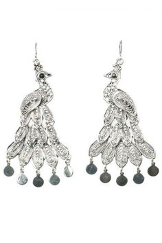 """The Peacock Silver Earrings dangle from your ears and make an exotic statement. Even better, the peacock represents happiness in India.The earrings are 3"""" long with the hook.                             Bohemian Peacock Earrings by KTCollection. Accessories - Jewelry - Earrings Upper West Side, Manhattan, New York City"""