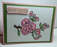 Stampin' Up! ... handmade Easter/S[pring card from Stamp & Scrap with Frenchie ... luv the shading using Blendies to color the flowering cherry tree branch ...