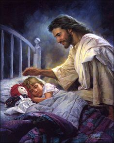 I love this picture because it makes me smile because I know every night when I'm sleeping I'm not alone Jesus is right there watching over me