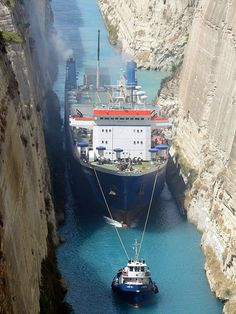 Ship &  tugboat - Corinth Canal, Greece