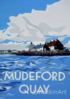 Mudeford Quay from Hengistbury Head. Original painting and prints by Richard Watkin. www.watkinart.co.uk