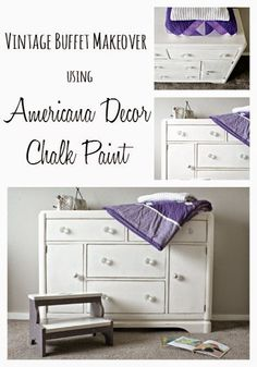 Vintage buffet makeover to changing table using Americana Decor Chalk Paint.  @michaelsstores