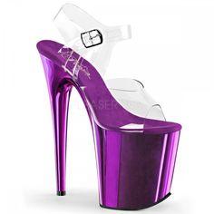 """Pleaser 8"""" purple chrome ankle strap sandals"""