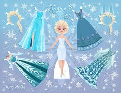 Frozen Disney Bonecas de Papel para Imprimir e vestir - Brinquedos de Papel