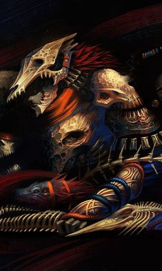 Warrior, skull and bones, art, 480x800 wallpaper