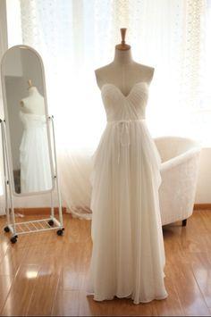 Simple Chiffon Bridesmaid Dress Prom Dress Strapless Sweetheart Ruffle Dress via Etsy