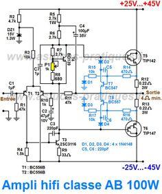 Ampli classe AB 100W : schéma - Astuces Pratiques - Astuces Pratiques Valve Amplifier, Audio Amplifier, Hifi Audio, Speakers, Ab Circuit, Circuit Diagram, Diy Electronics, Electronics Projects