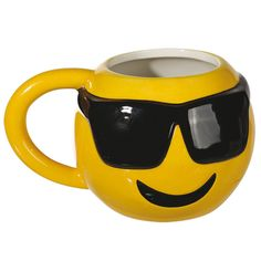 Emoji Face With Shades Ceramic Mug Cool Funky Drinks Coffee Tea Cup Novelty Gift #Retro