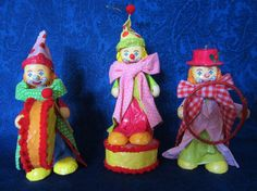 Vintage Paper Mache' 3 Circus Clowns - Folk Art hand crafted & hand painted in vibrant colors. Christmas ornaments, collectible. Great Gift!